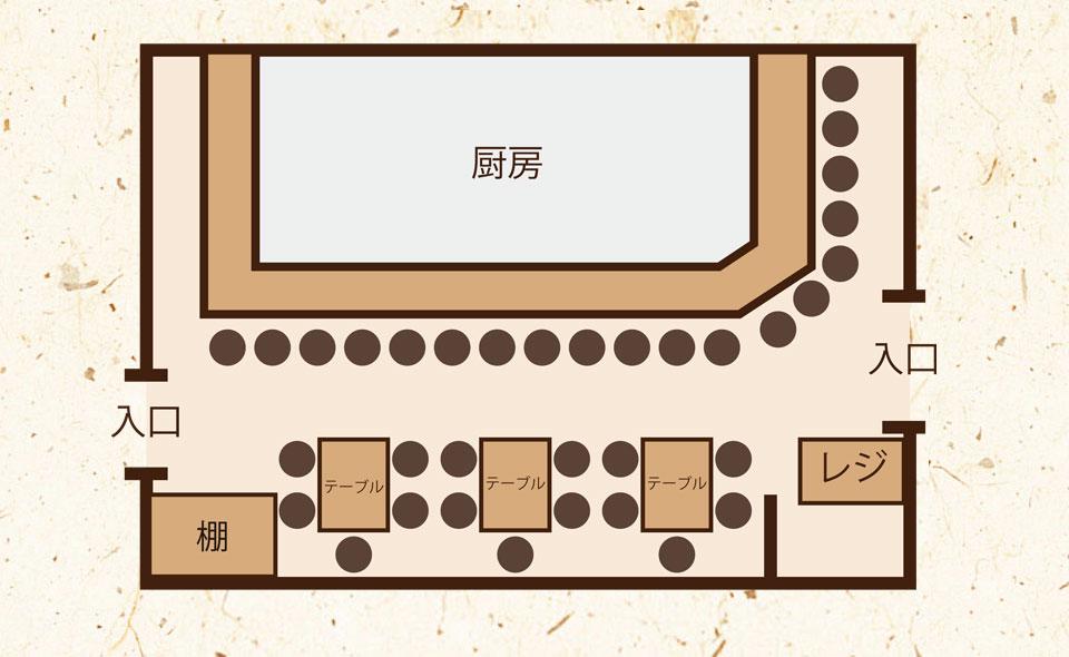 カウンター 19席/テーブル 14席