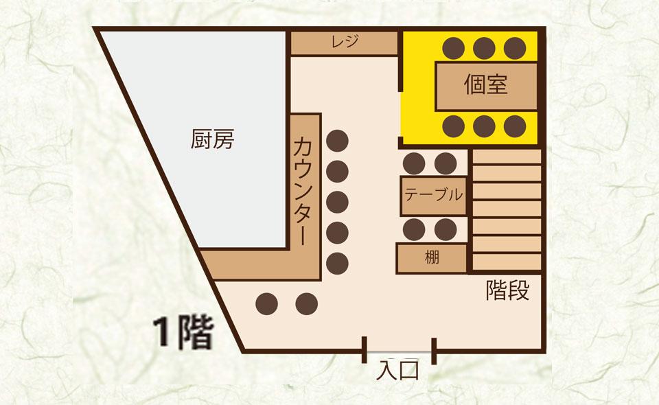 カウンター 7席/テーブル 4席/個室 6席